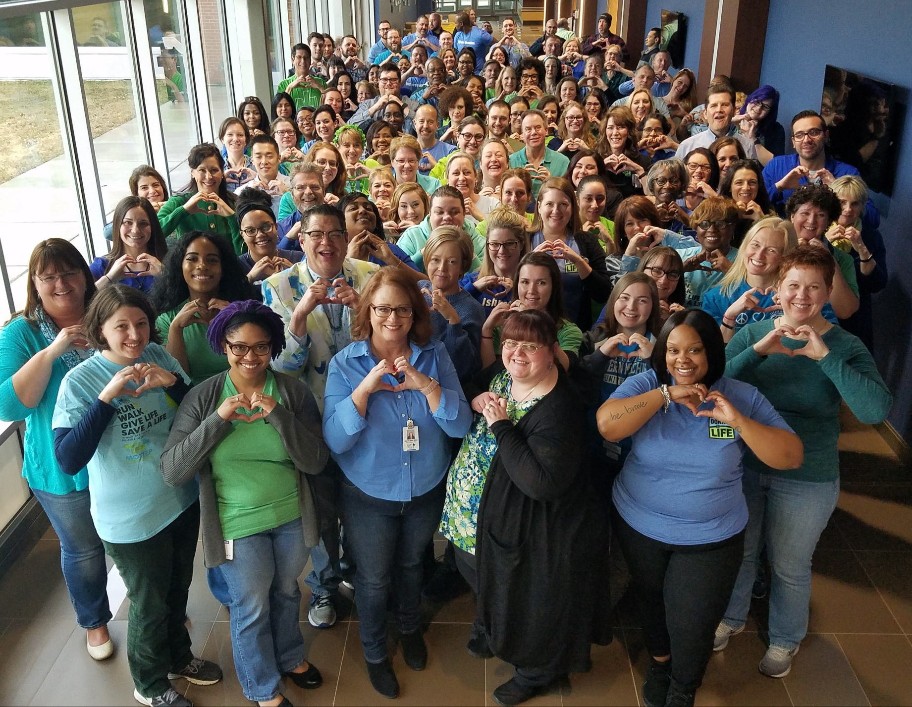 Gift of Life staff celebrating National Donate Life Blue & Green Day