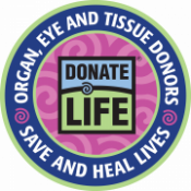 Girl Scout patch. In center is the Donate Life logo, around the edges it reads: organ, eye and tissue donors save and heal lives