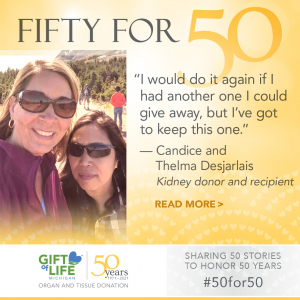Candice and Thelma Desjarlais, sisters-in-law who share a kidney