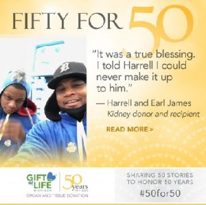 Harrell James (left) donated a kidney to his brother, Earl.