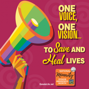 Colorful megaphone with text: One Voice, One Vision... to Save and Heal Lives