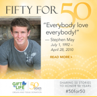 Stephen May, a tissue donor, lived by the phrase 'Everybody Love Everybody'