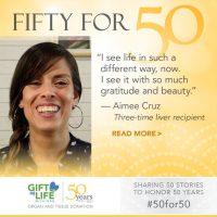 Aimee Cruz, a three-time liver recipient, says she is grateful for every day.