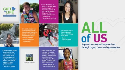 All of Us organ tissue eye donation transplant high school outreach program