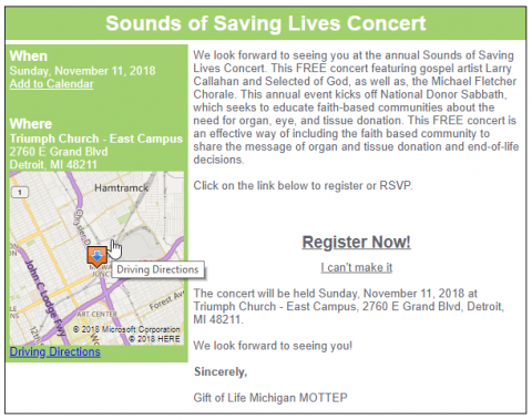 Sounds of Saving Lives concert in Detroit Michigan to promote organ donation and transplant