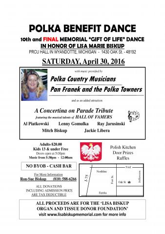Flier with benefit dance details