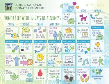 National Donate Life Month 2021 Kindness Calendar