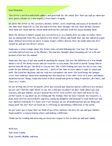 letter from Michigan organ donor family to transplant recipient