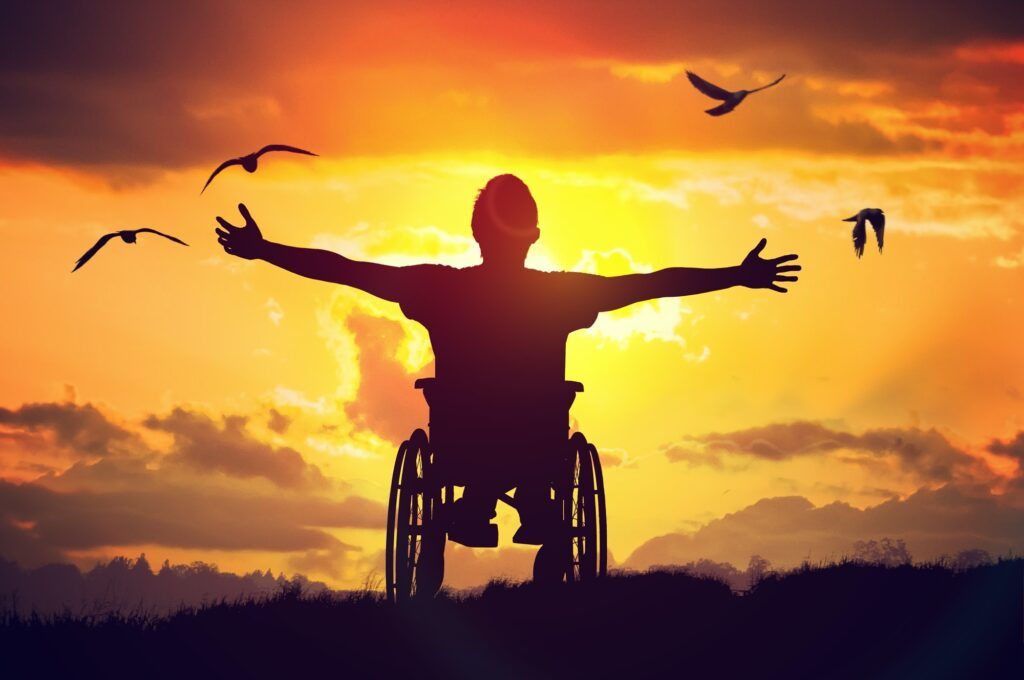 Man in a wheelchair celebrates during sunset in an open field.