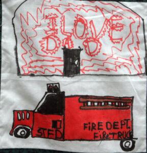 I love dad written above a firetruck