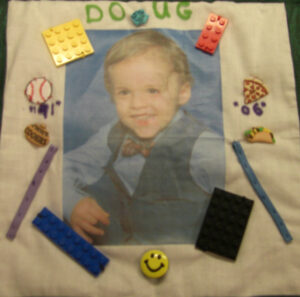 Doglas Woodruff, seen with legos, baseballs, pizza, tacos and more
